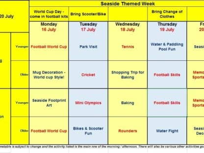 Activity Camp Timetables