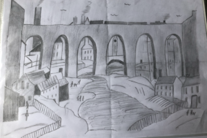 Lowry Stockport viaduct sketch 1
