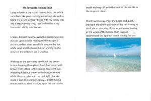 Y6 Work My Favourite Holiday 3